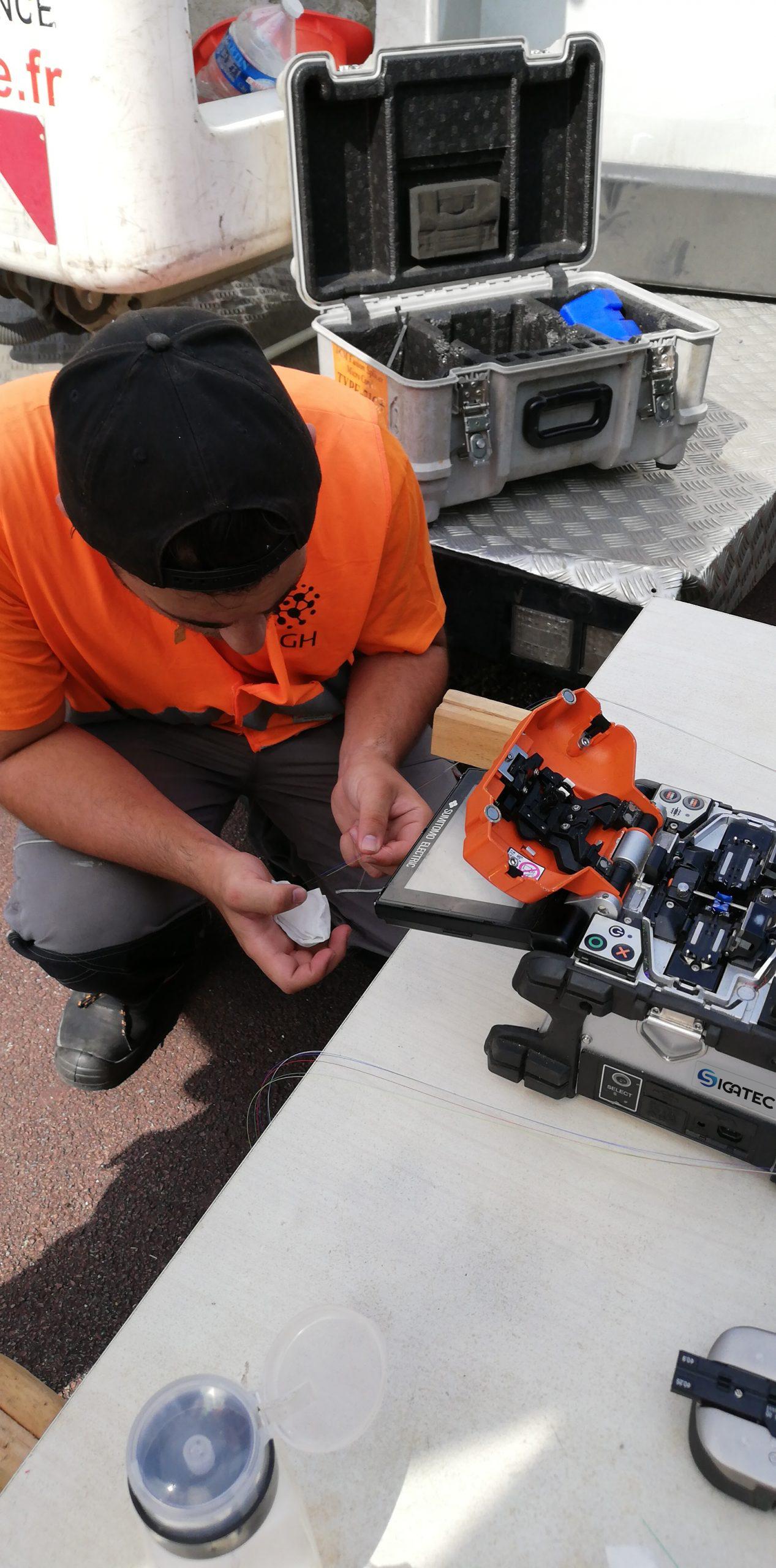 Préparation de fibre avant raccordement